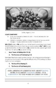 """John 15:7-8 – """"Our Walk in Fruitfulness""""—Prayer – (Part 4) – Outline  """